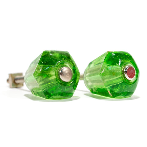 Deco Green Glass Cabinet Knobs (pair)