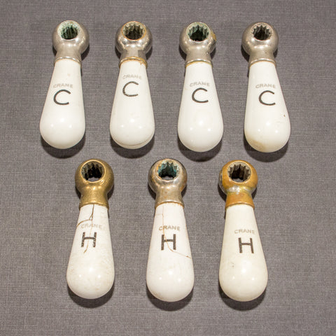Crane Porcelain Cracked Hot and Cold Lever Handles