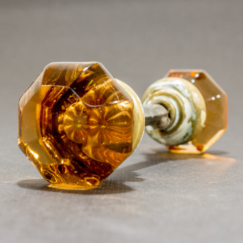 Amber Glass Antique Octagonal Door Knobs