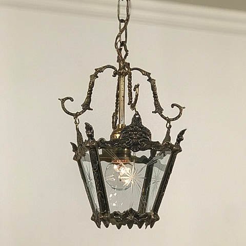 Mid-Century 60s Ornate Brass Single Pendant Light