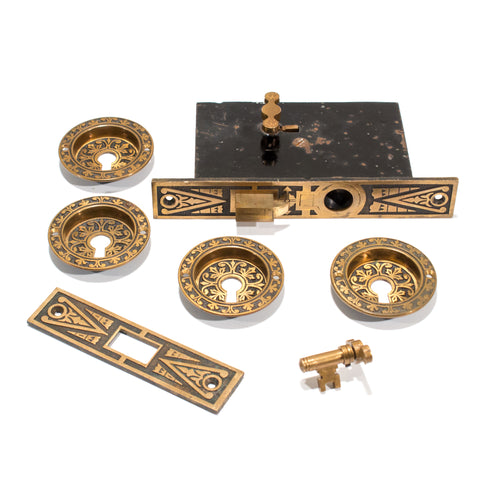 Antique Pocket Door Hardware Pulls Lock Set