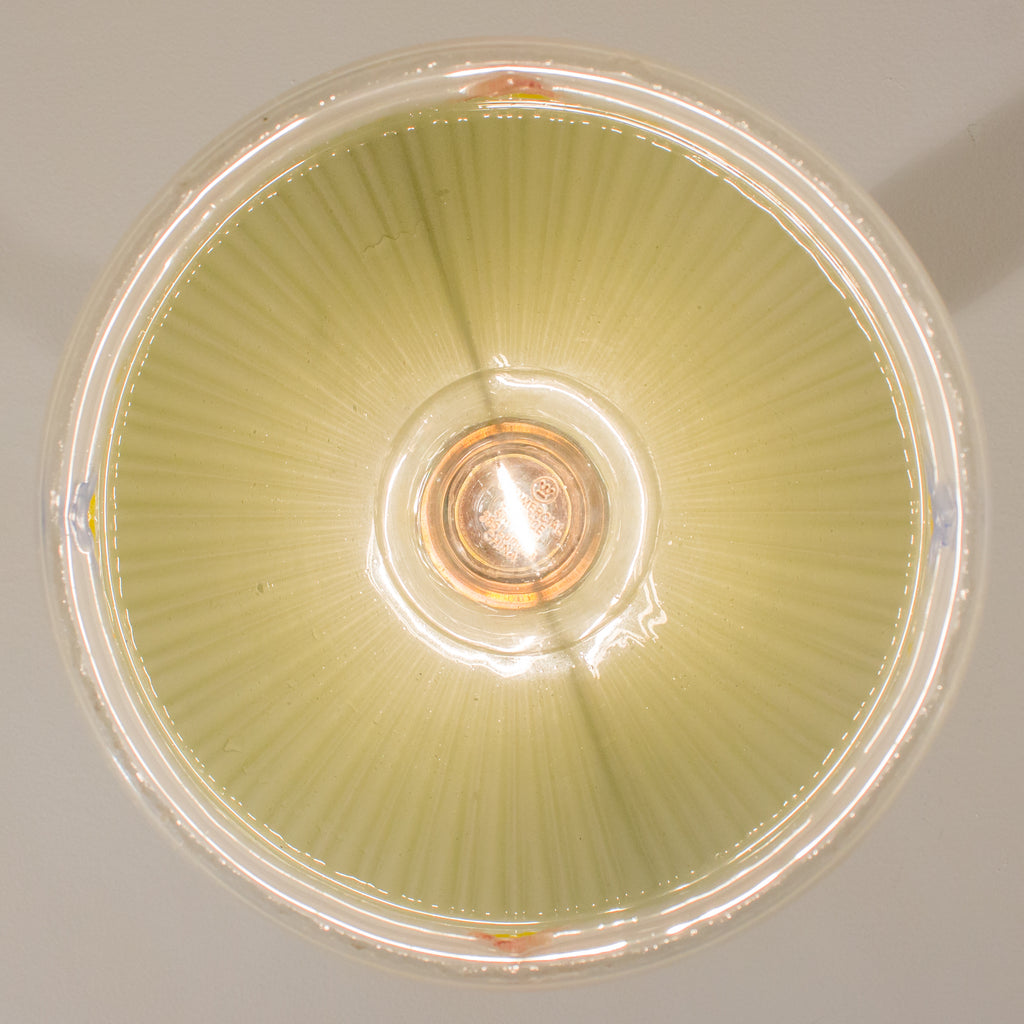 Leafy Flush Mount Ceiling Fixture with Painted Glass