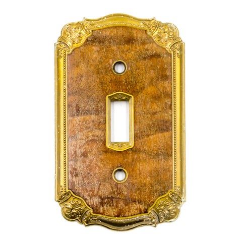 Walnut Inlaid Brass Light Switch Plate