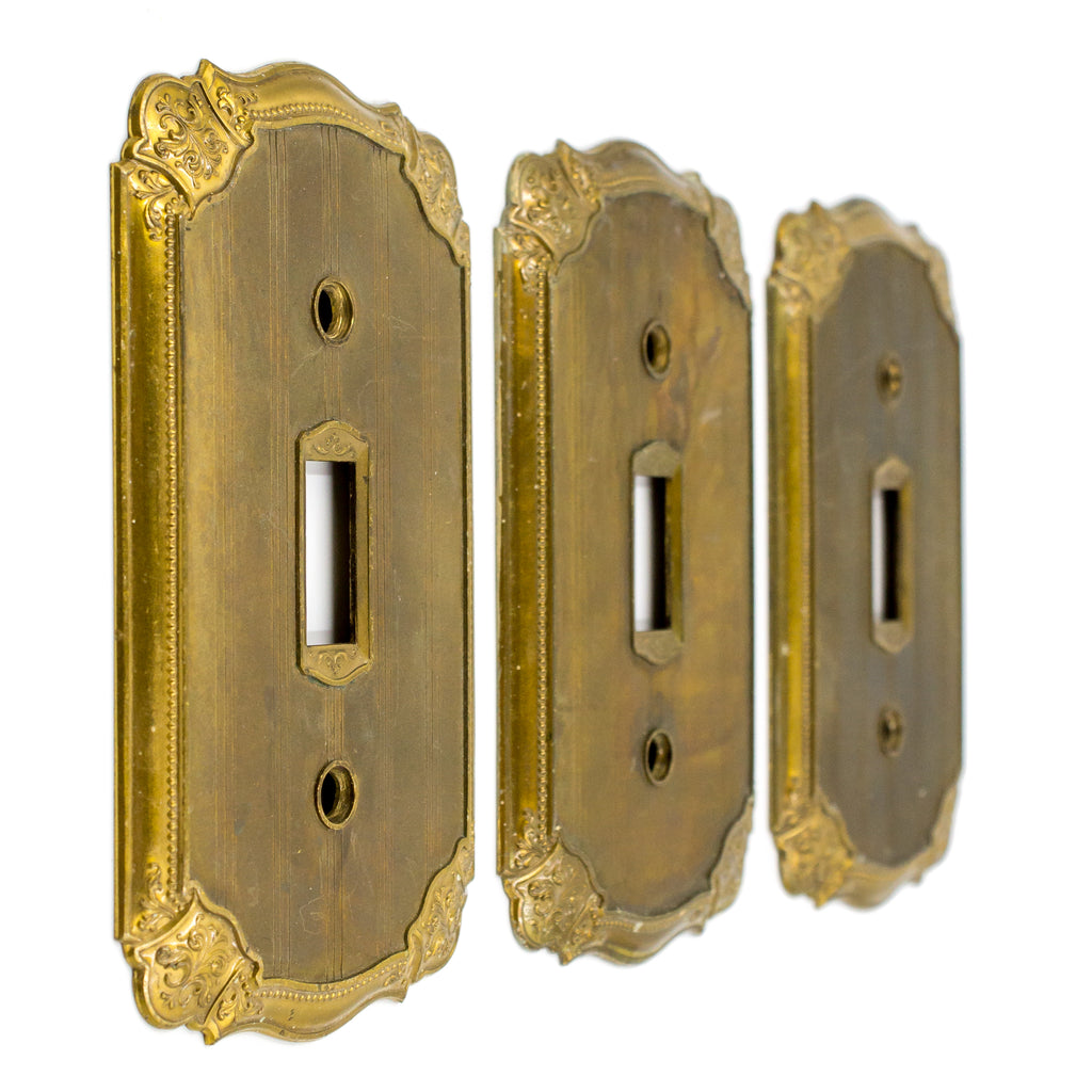 Striped Heavy Brass Switch Plate Covers Single