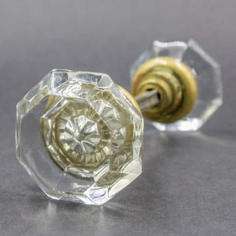 Clear Octagonal Glass Door Knobs