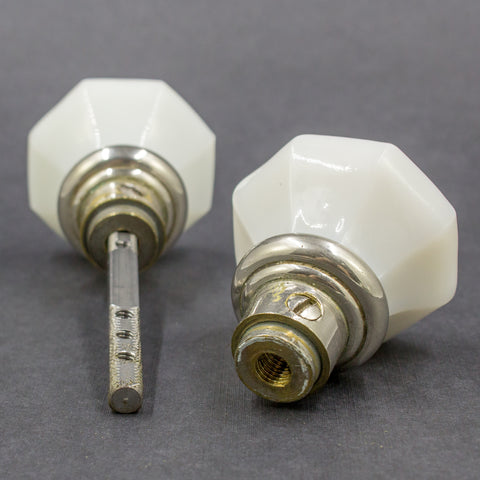 1920s MIlk Glass Octagonal Door Knob Set