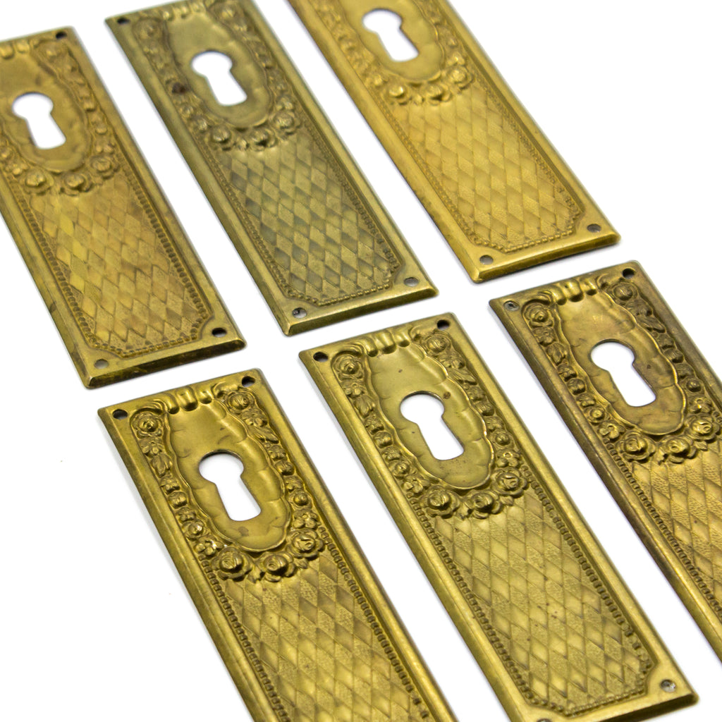 Brass Rectangular Floral Diamond Key Hole Cover