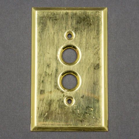 Vintage Brass Push Button Light Switch Plate