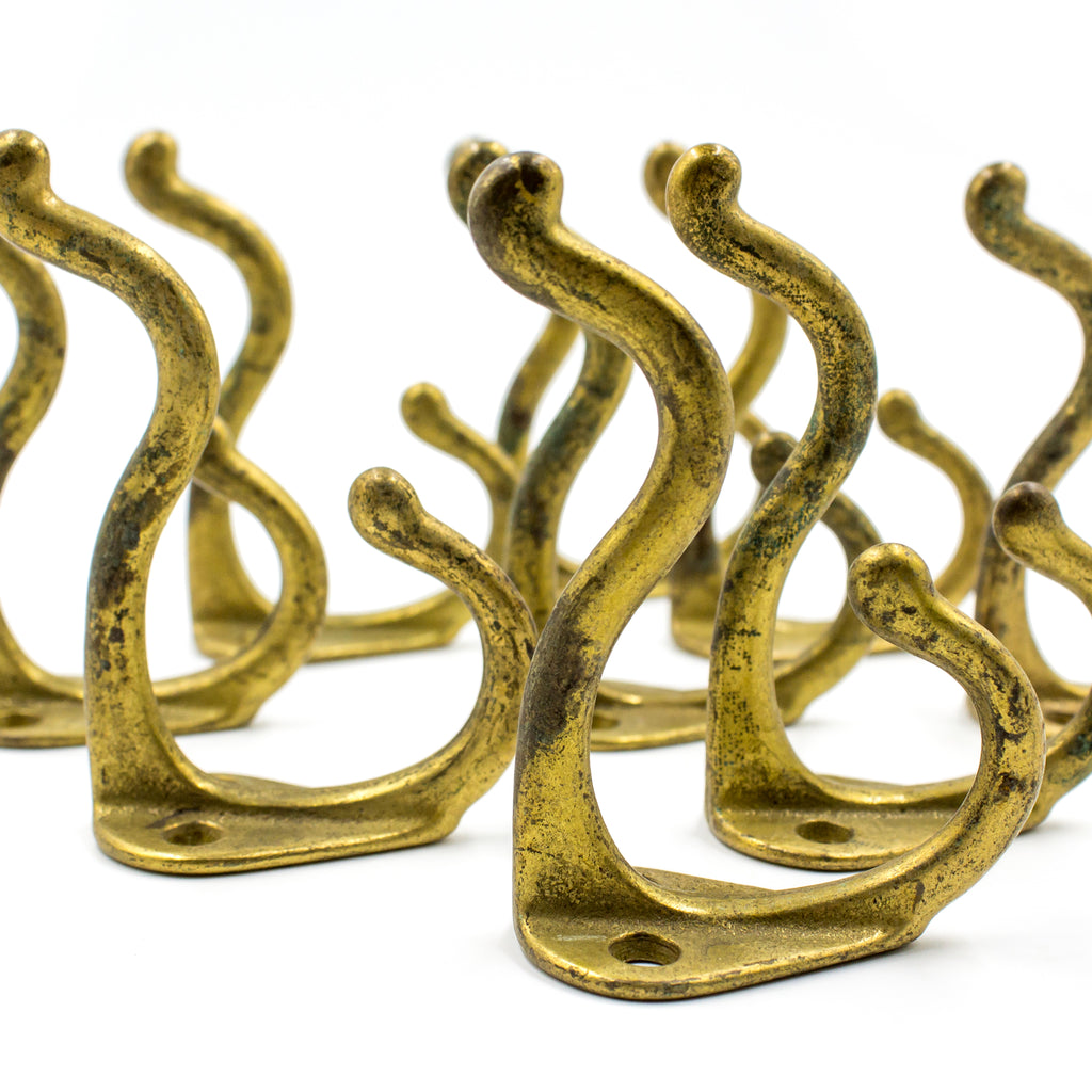Brass Finish Vintage Double Coat Hat Hooks