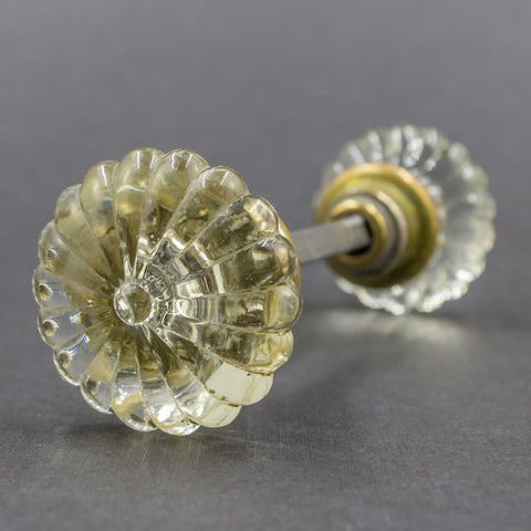 1940s Glass Seashell Scalloped Door Knob Set