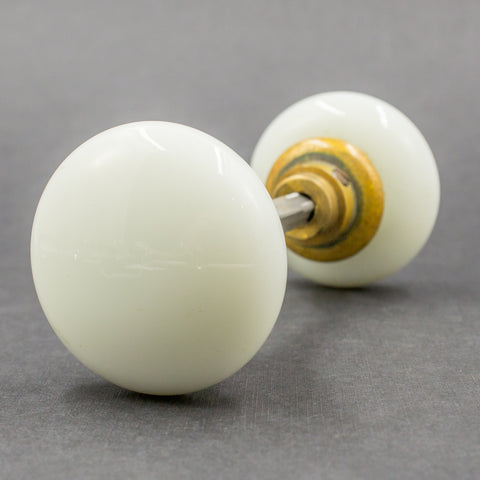 Round Milk Glass Door Knobs Set