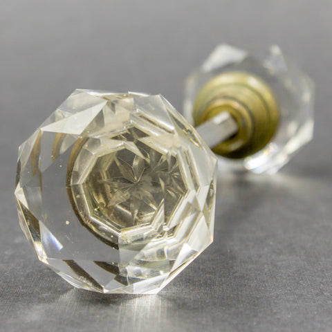 Faceted Clear Glass Antique Door Knobs