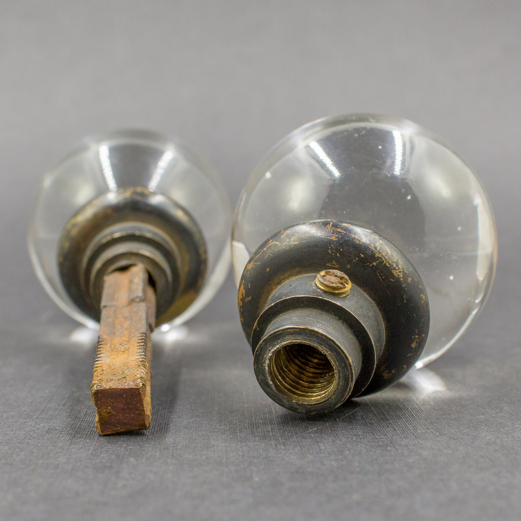 Glass Clear Sphere Door Knob Set c1920