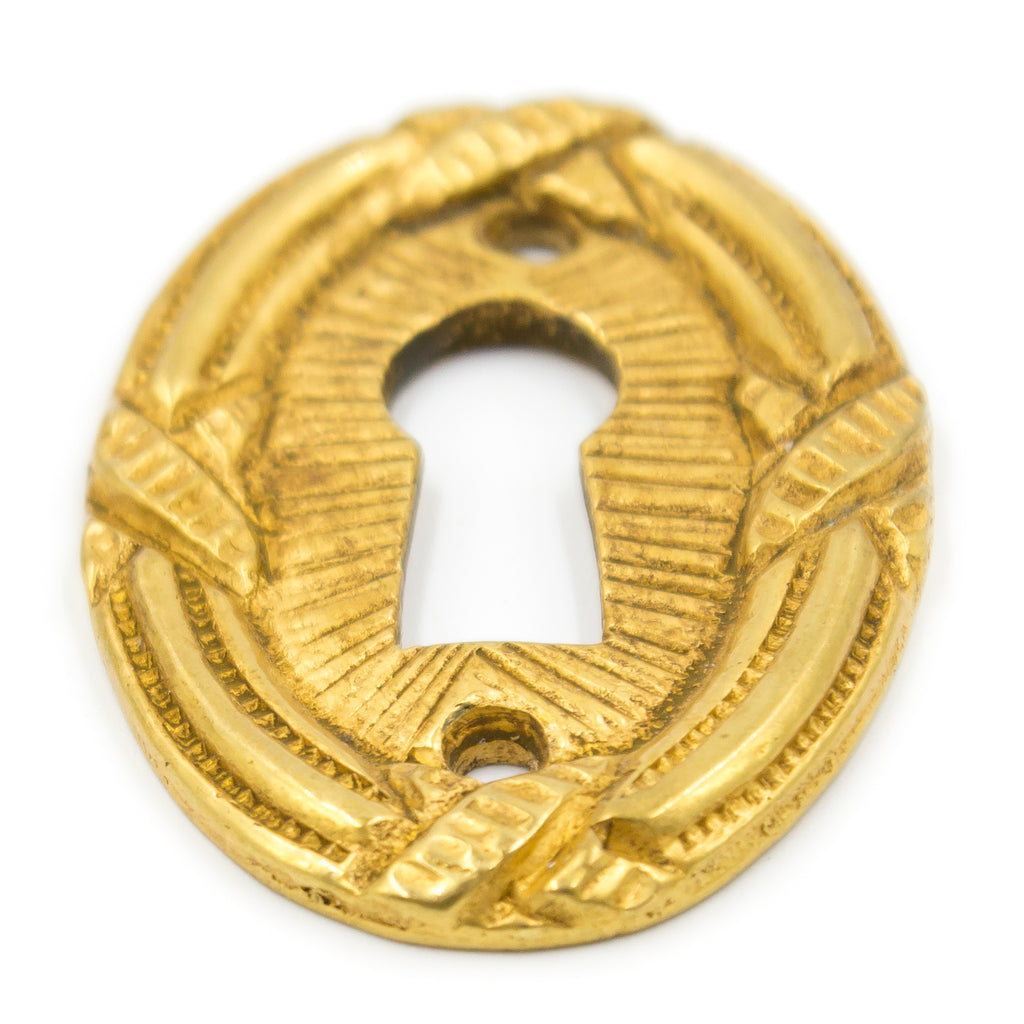 Cast Brass Ribbon and Reed Key Hole Covers