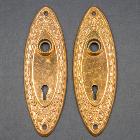 Art Nouveau Bronze Oval Door Plates Pair (2)