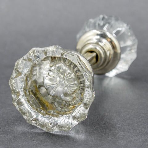 Bright Chrome Fluted Glass Doorknobs