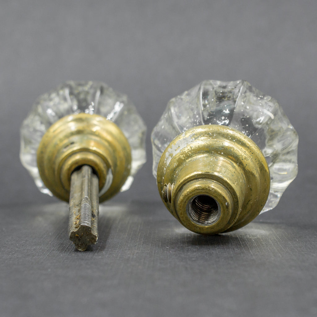 Clear Fluted 1940s Antique Door Knob Set