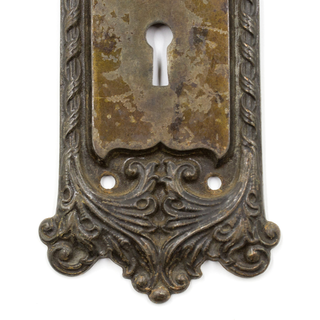 Nouveau Leaf and Ribbon Cast Iron Escutcheon