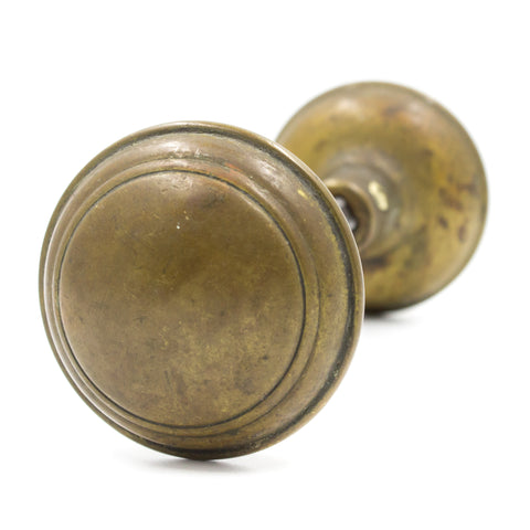 Round Ringed Brass Door Knob Set