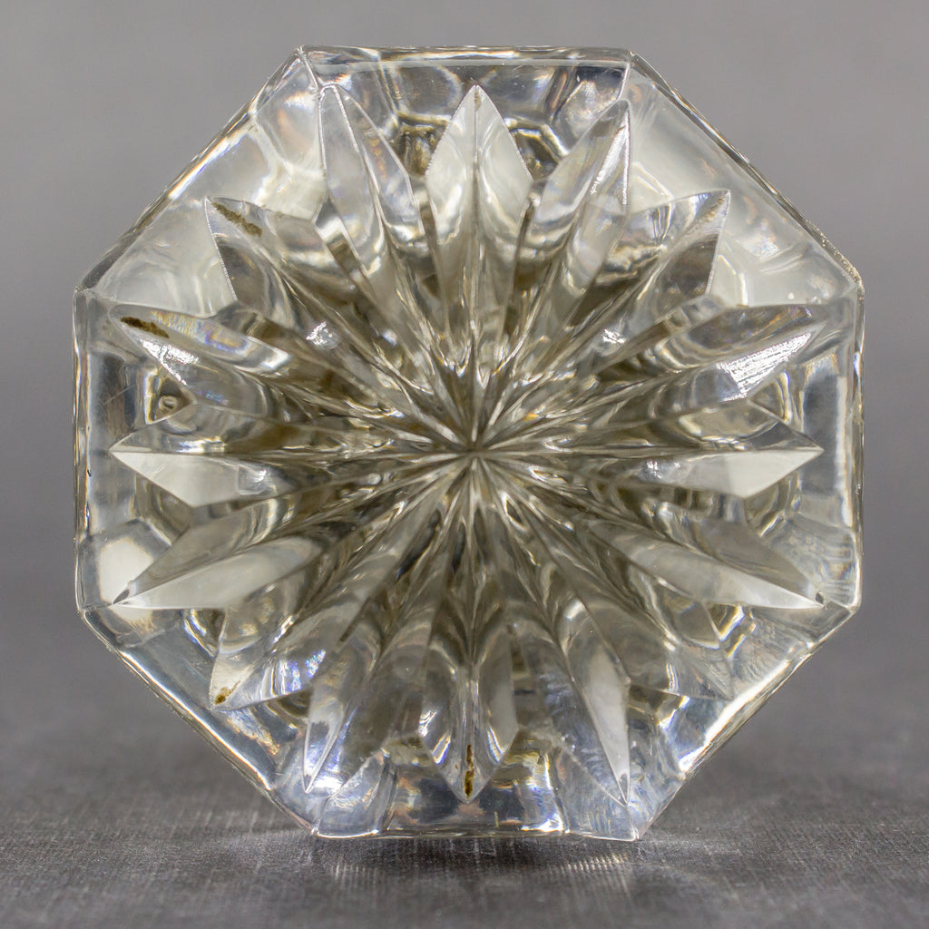 Carved Clear Glass Octagonal Door Knobs
