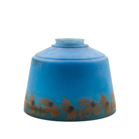 Dark Blue 1930s Flower Glass Light Shade