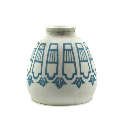 Beautiful Blue Painted Milk Glass Shade