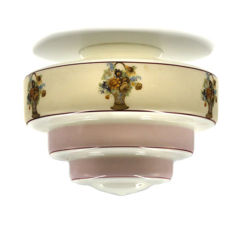 Deco Pink Floral Stepped Glass Shade