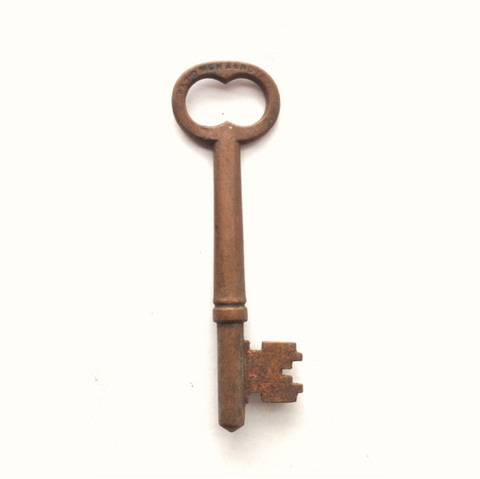 Antique Brass Barrel Skeleton Key with Notched Flag