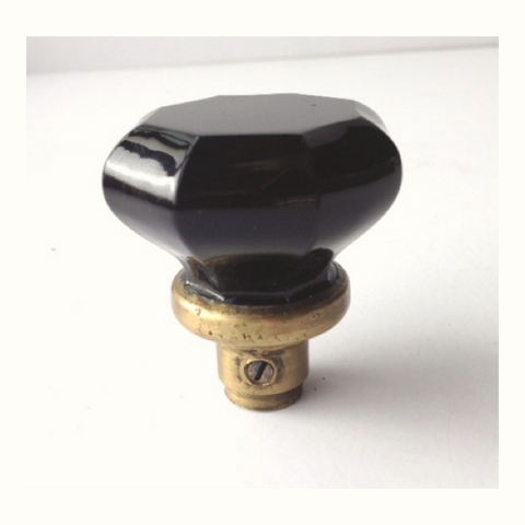 Black Glass Octagonal Door Knob