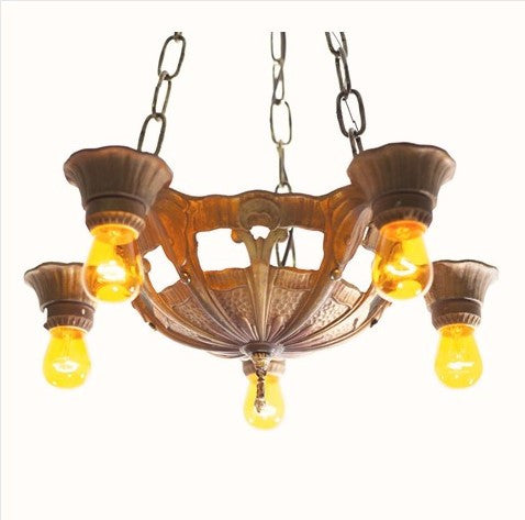 Arts and Crafts Mission Bare Bulb Five Light Fixture