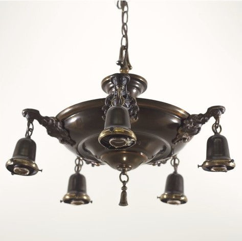 Classic 5 Light 1940's Pan Ceiling Fixture