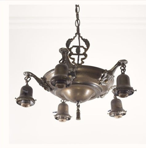 Ornate Antique Five Light Pan Fixture