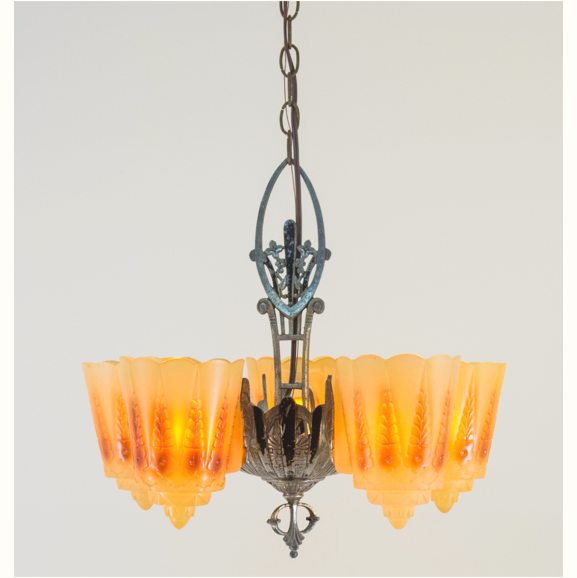1920s Slipper Shade Chandelier