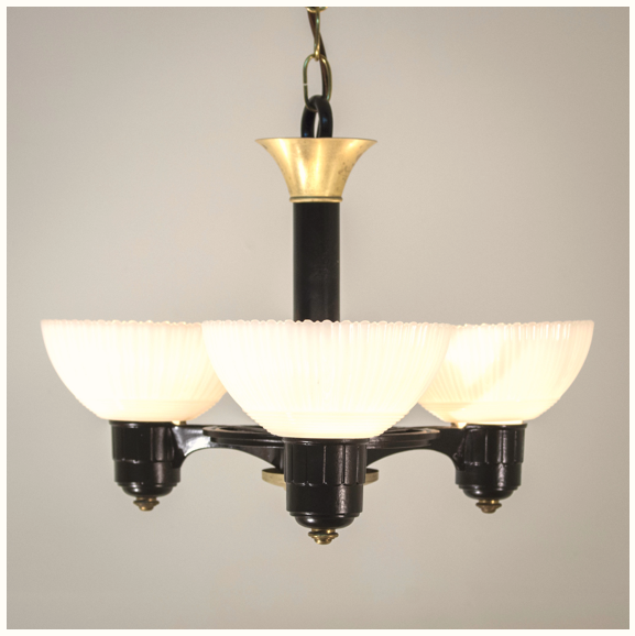 High deco 1930's Drop Shade Chandelier