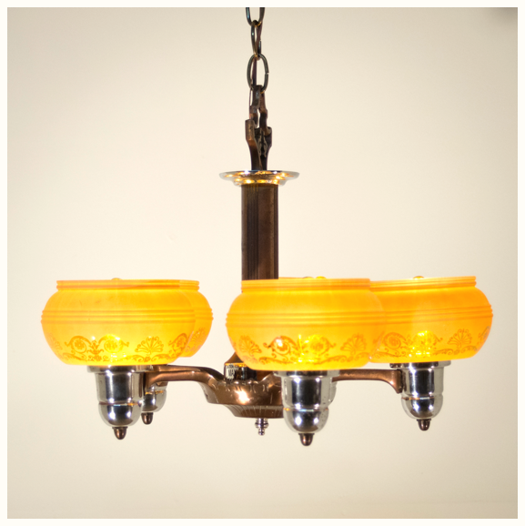 1950s Mid-Century Drop Shade Ceiling Light Fixture
