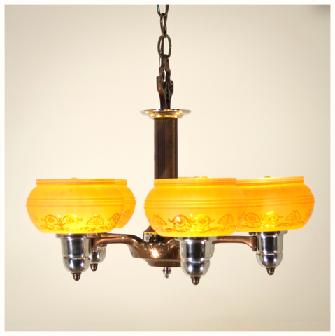 1950's Mid-Century Drop Shade Ceiling Light Fixture