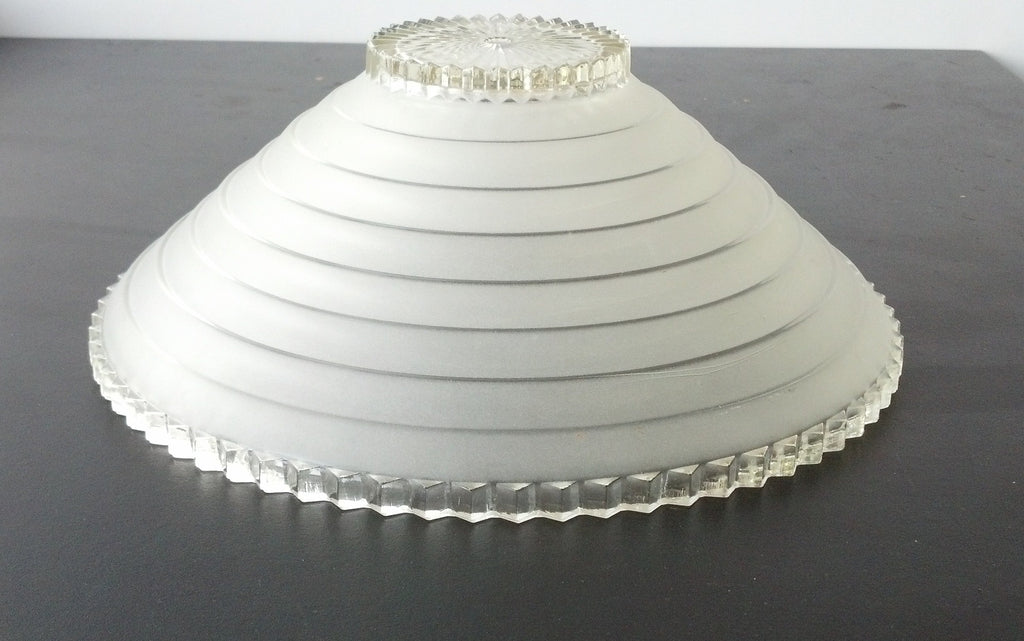 Deco Stepped Frosted Center Mount Glass Shade
