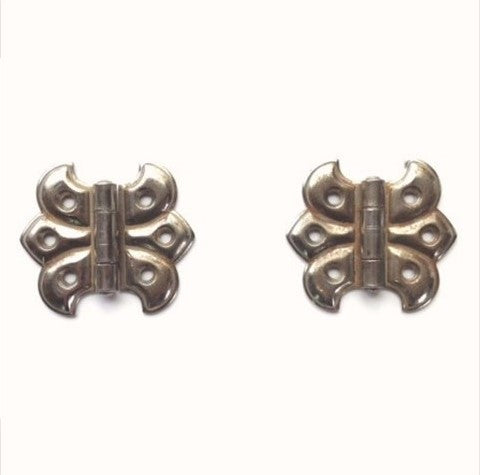 Original Antique Nickel Butterfly Hinges (pair)