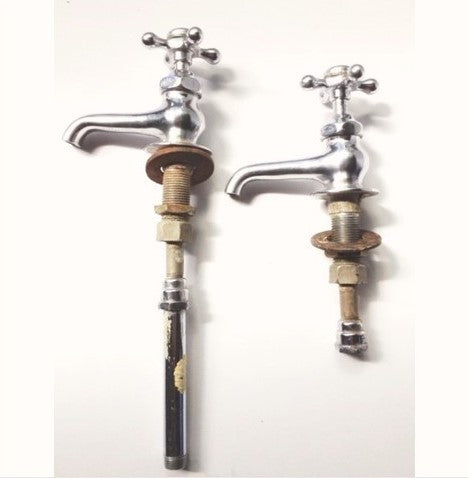 Standard Re-Nu Nickel Hot Cold Separate Taps Valves