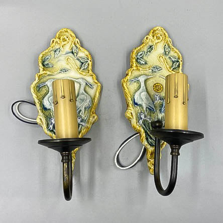 Ceramic Italian Style Bird Wall Light Sconces