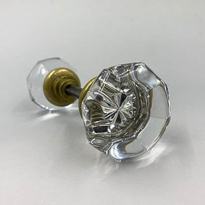 Convex Octagonal Clear Glass Door Knobs Set