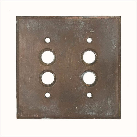Bronze Perkins Double Push Button Switch Plate