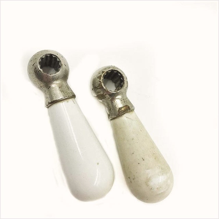 Crane Hot Cold Porcelain Lever Handles Pair
