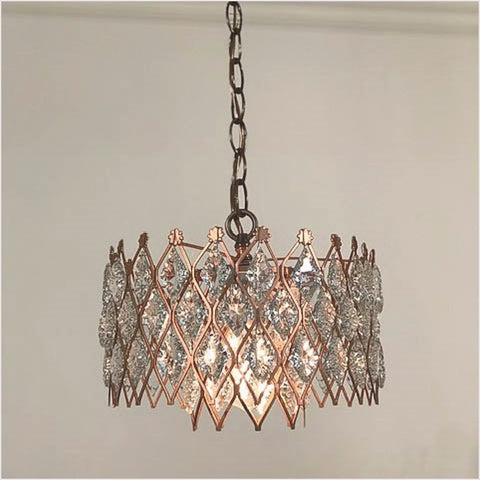 Mid-Century Copper Crystal Chandelier