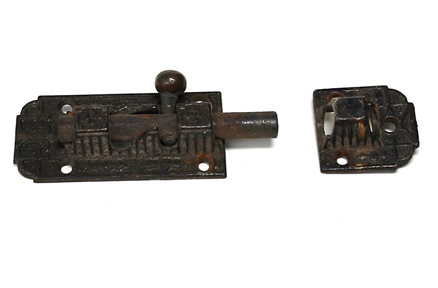 Victorian Iron Patterned Slide Bolt Pat'd 1874