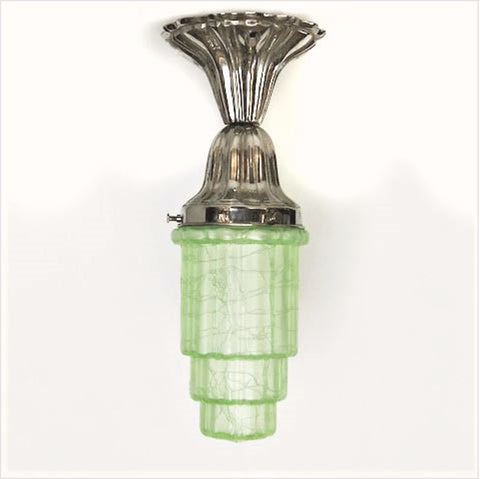 Reproduction Sheffield Nickel Fixture with Green Art Deco Shade