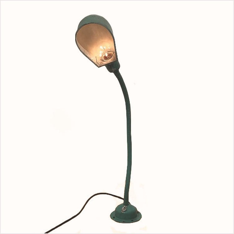 Industrial Green Gooseneck Table Lamp Light