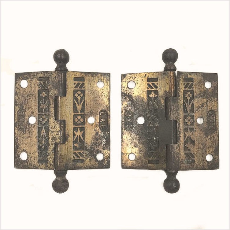 "Victorian ornate 3"" hinges pair"
