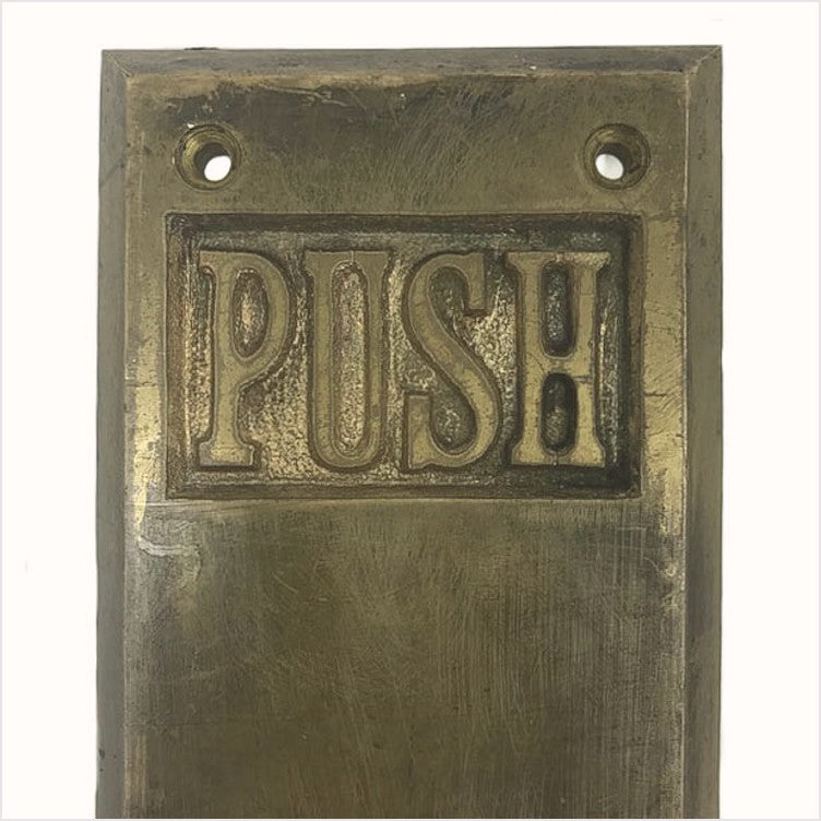 Large Craftsman Antique Brass Door Push Plates