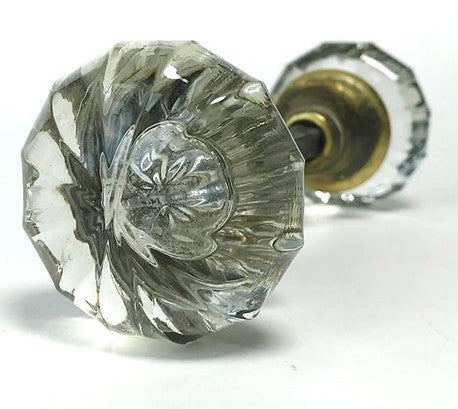 Unusual Convex Ribbed Glass Doorknobs c1940 (pair)